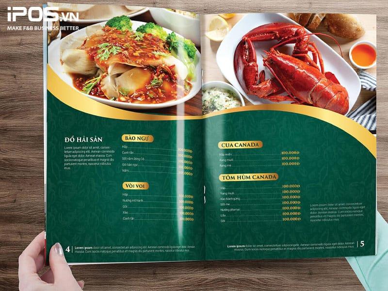 Font chữ làm nên sự sang trọng trong thiết kế menu