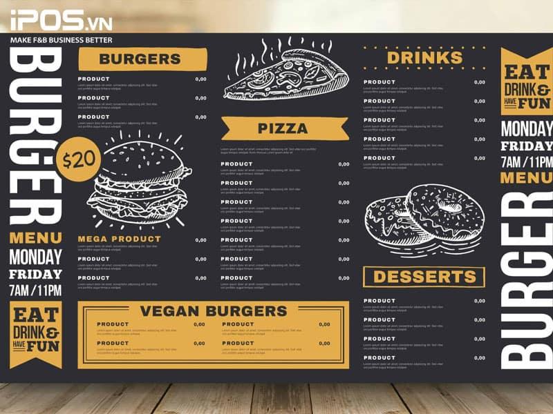 Món ăn chính và bán chạy của nhà hàng nên được nhấn mạnh đầu tiên trên menu