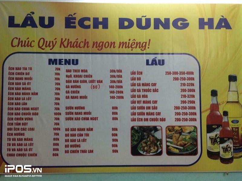 thực đơn nhà hàng lẩu nướng