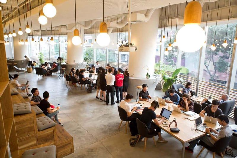 mô hình quán cafe co-working space