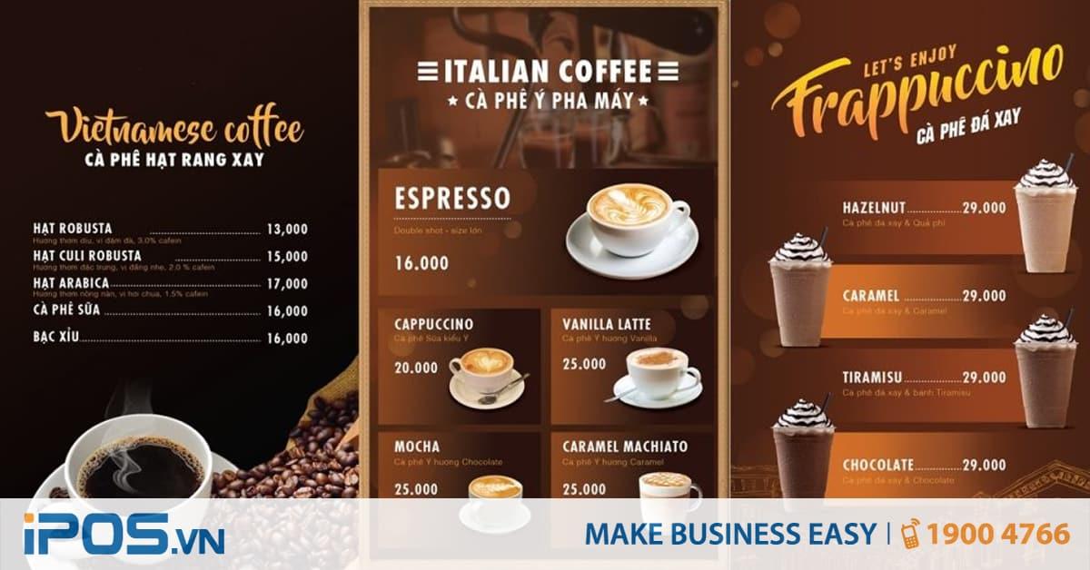 Các bước xây dựng menu quán cafe - đồ uống 1