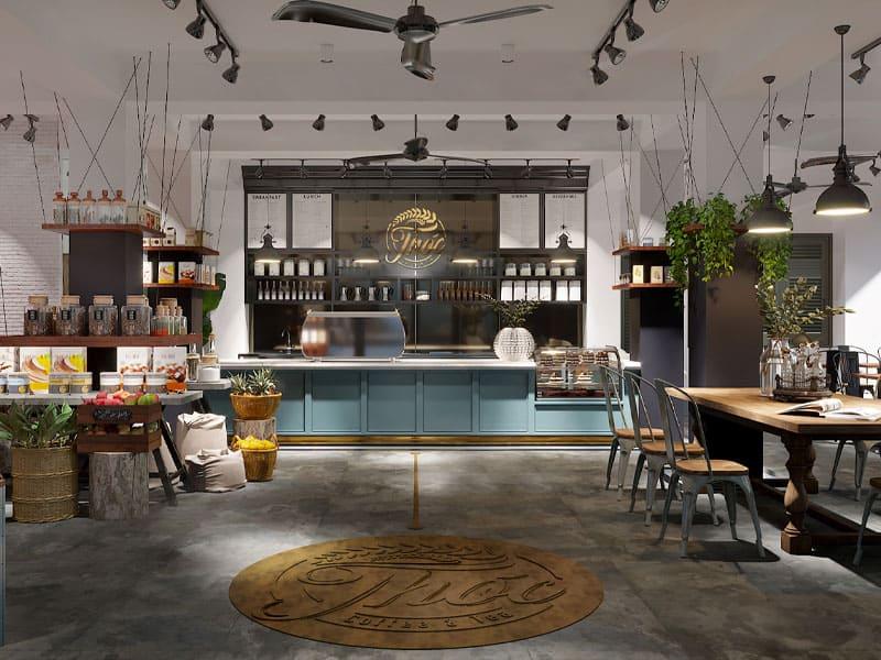 Thiết kế quán cafe theo phong cách Industrial