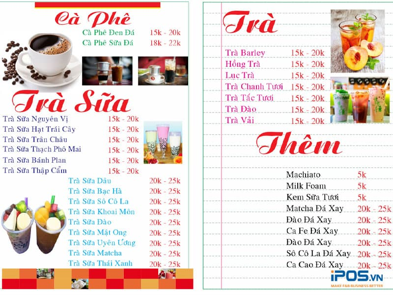 Chất liệu để làm menu quán trà sữa rất phong phú và đa dạng