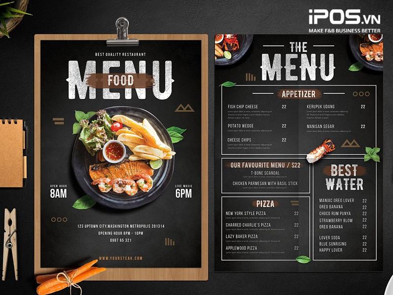 xây dựng menu mở nhà hàng