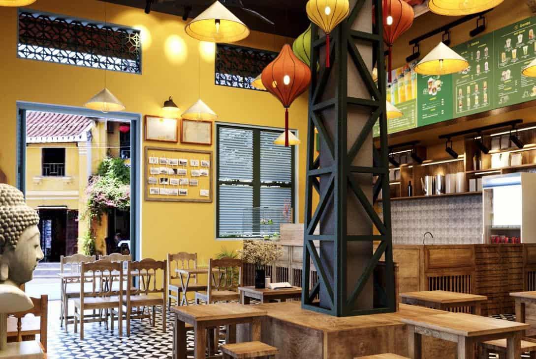 thiết kế không gian quán trà chanh