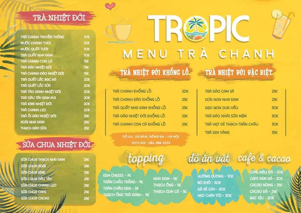 xây dựng menu quán trà chanh