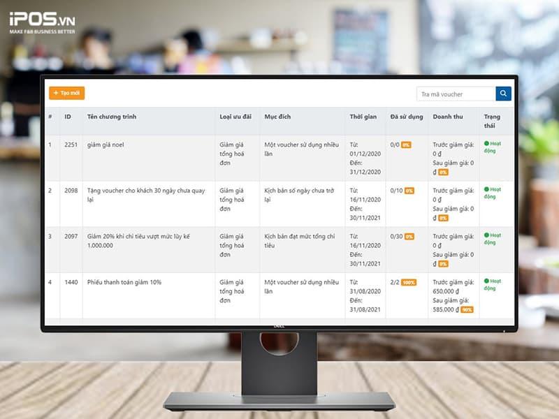 tạo khuyến mãi bằng phần mềm quản lý nhà hàng