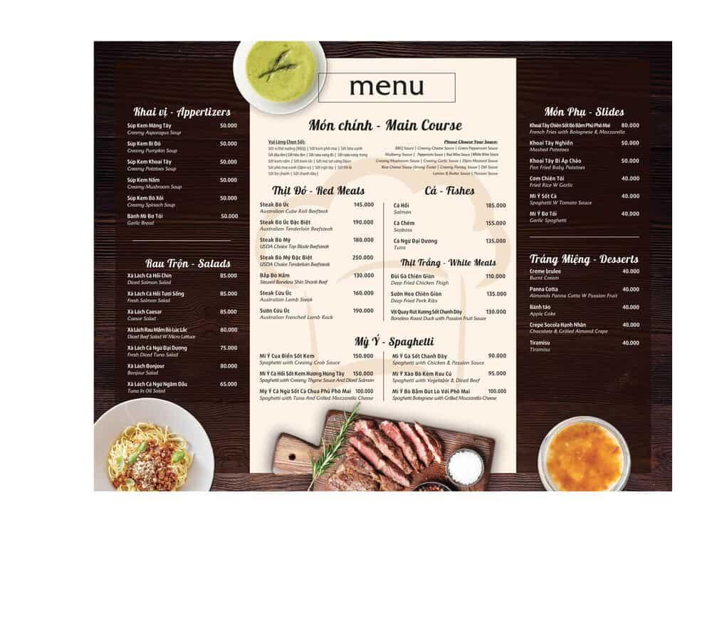 Thiết kế menu nhà hàng Bonjour Resto