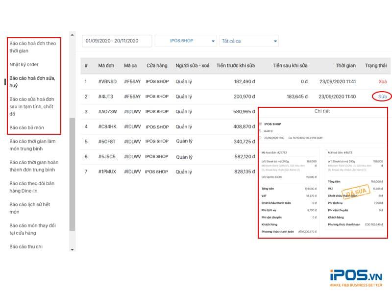 phần mềm bán hàng ghi nhận lịch sử chỉnh sửa hóa đơn