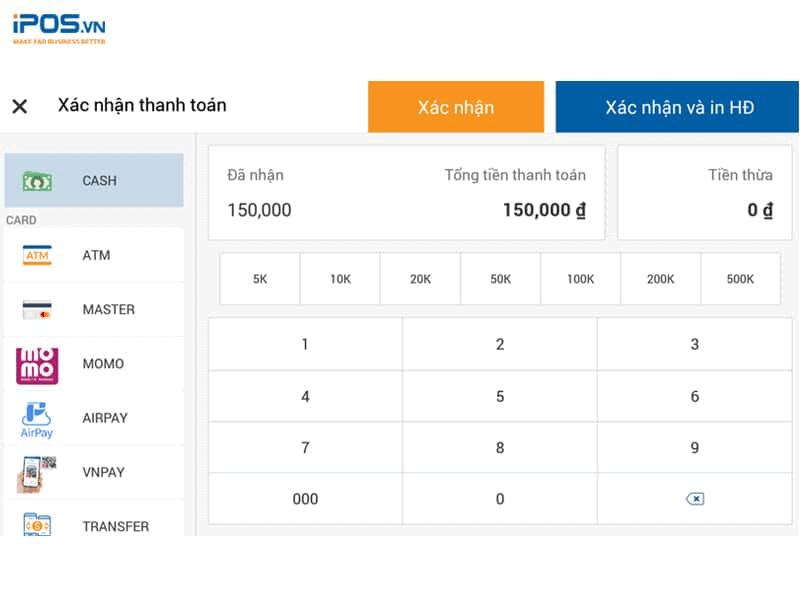 Phần mềm tính tiền iPOS cho phép thanh toán với đa dạng hình thức