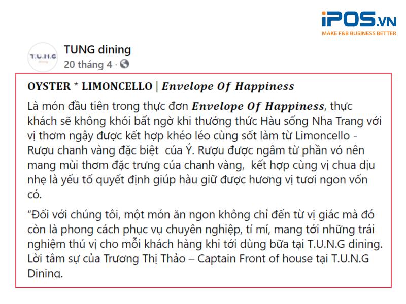 Ngôn ngữ chuyên môn được sử dụng để thể hiện tính chuyên nghiệp và cao cấp của nhà hàng (Nguồn ảnh: T.U.N.G Dining)