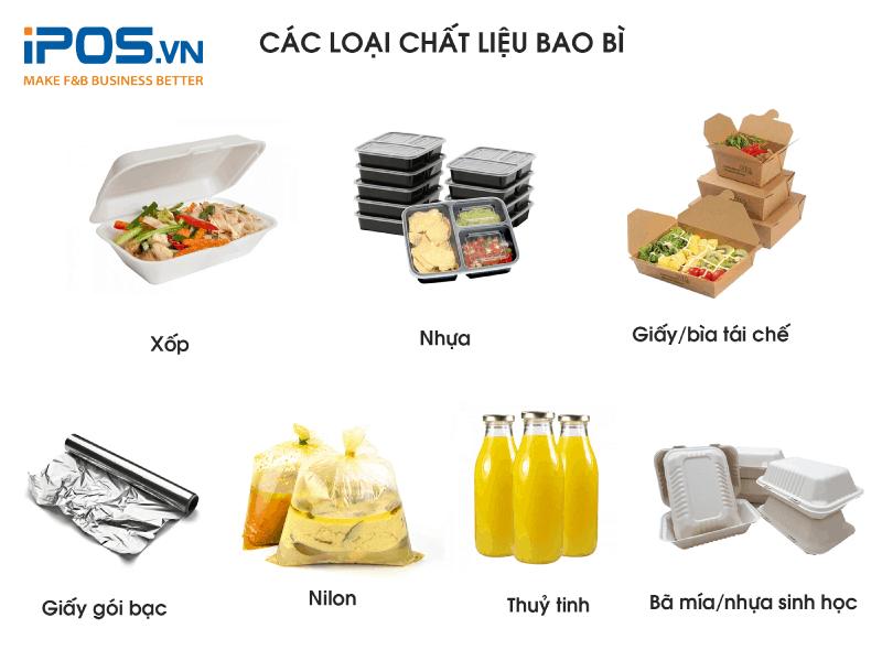 Các loại chất liệu bao bì đóng gói đồ ăn/thức uống phổ biến