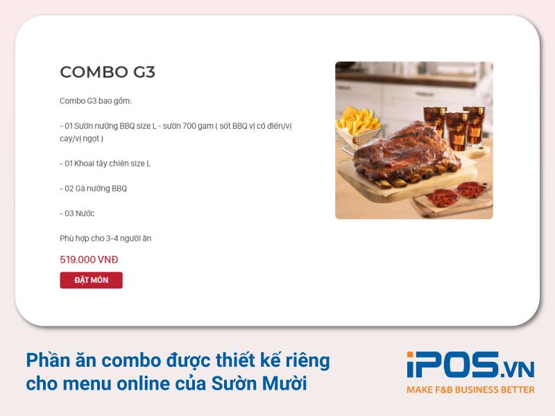 Sườn Mười thiết kế phần ăn Combo phù hợp với menu bán hàng online
