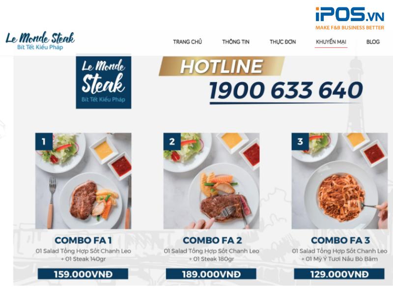 Vị trí hotline rõ ràng ngay bên trên menu thúc đẩy người dùng gọi điện đặt hàng