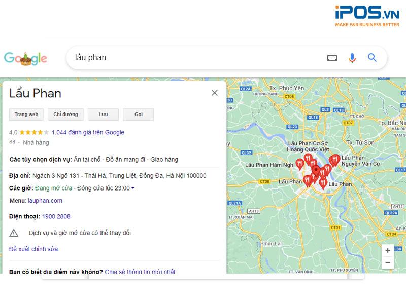 Những thông tin của nhà hàng sẽ được đưa lên Google